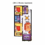 (2B1) 2 Rooms Apartment Floor Plan