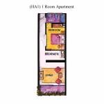 (HA1) 1 Room Apartment Floor Plan 86